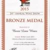 Bronze Medal 2013 Chardonnay