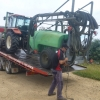 Tractor and sprayer arrived at Boree Lane on Troy's terrific Tilt-tray with Troy unloading